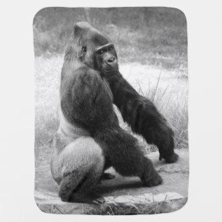 白黒ゴリラのベビーブランケットのジャングル動物 ベビー ブランケット