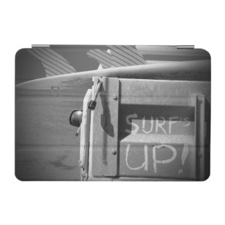 白黒サーフの上の波のサーフボードの波 iPad MINIカバー