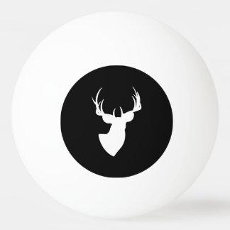 白黒シカのシルエット 卓球ボール