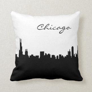 白黒シカゴの陸標の枕 クッション