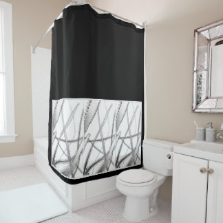白黒シャワー・カーテン シャワーカーテン