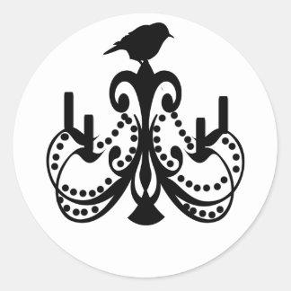 白黒シャンデリア ラウンドシール