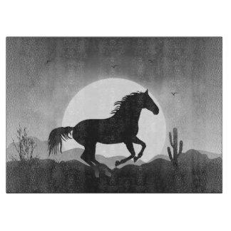 白黒シルエットのあなたの文字の馬を加えて下さい カッティングボード