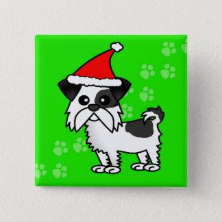 白黒シーズー(犬)のTzuの漫画のサンタのかわいい帽子- 缶バッジ