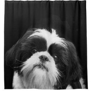 白黒シーズー(犬)のTzu犬のシャワー・カーテン シャワーカーテン