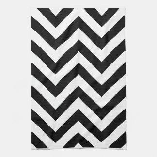 白黒ジグザグ形のシェブロンパターン キッチンタオル