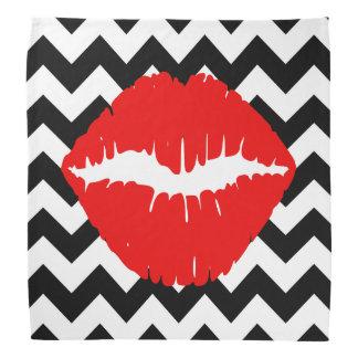 白黒ジグザグ形の赤い唇 ハンカチーフ
