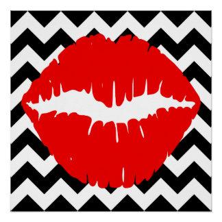 白黒ジグザグ形の赤い唇 ポスター