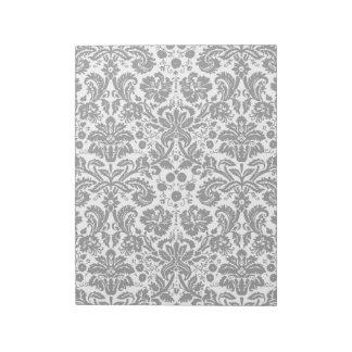 白黒スタイリッシュなダマスク織パターン ノートパッド