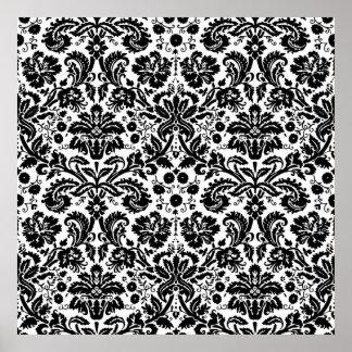 白黒スタイリッシュなダマスク織パターン ポスター