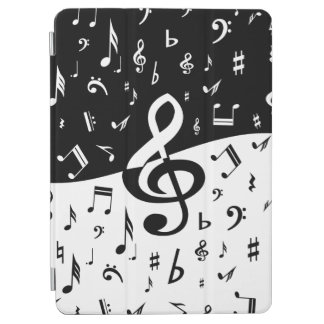 白黒スタイリッシュなト音記号の波 iPad AIR カバー