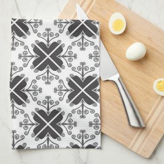 白黒スタイリッシュな渦巻パターン キッチンタオル