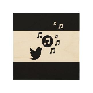 白黒スタイリッシュな鳴き鳥 ウッドウォールアート