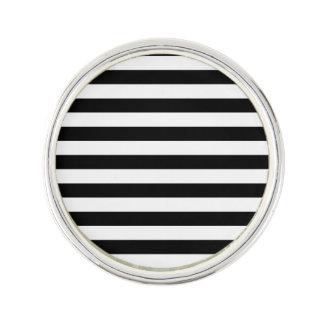 白黒ストライプなパターン ラペルピン