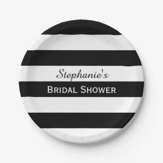白黒ストライプのなブライダルシャワー ペーパープレート