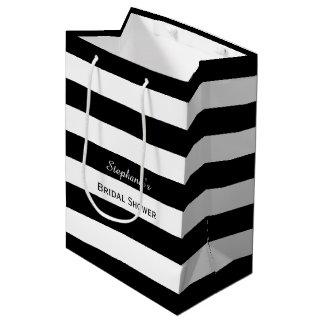 白黒ストライプのなブライダルシャワー ミディアムペーパーバッグ