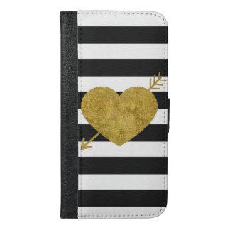 白黒ストライプのな矢のハート iPhone 6/6S PLUS ウォレットケース
