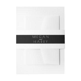 白黒ストライプの結婚 招待状ベリーバンド