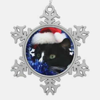 白黒タキシード猫のクリスマスの帽子のチンサル スノーフレークピューターオーナメント