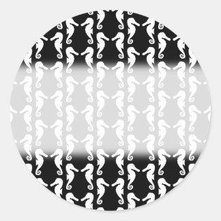 白黒タツノオトシゴパターン ラウンドシール