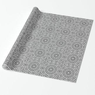 白黒ダイヤモンドの円の包装紙 ラッピングペーパー
