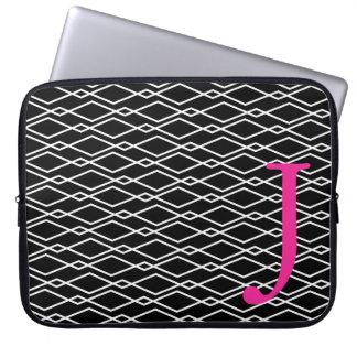 白黒ダイヤモンドの幾何学的なラップトップの箱 ラップトップスリーブ
