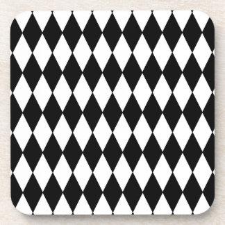 白黒ダイヤモンドの道化師パターン コースター