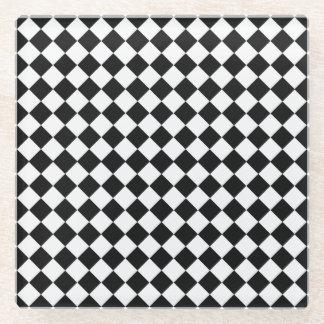 白黒ダイヤモンドパターン ガラスコースター