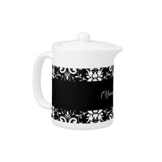 白黒ダマスク織の一致の台所