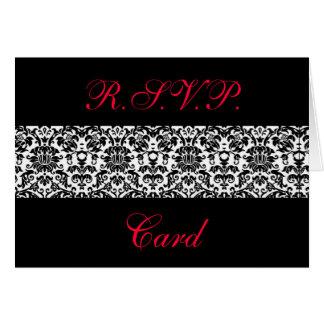 白黒ダマスク織の応答カード カード