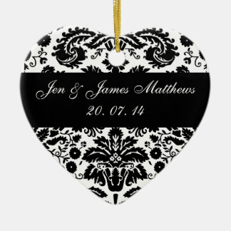白黒ダマスク織の結婚式のオーナメント セラミックオーナメント