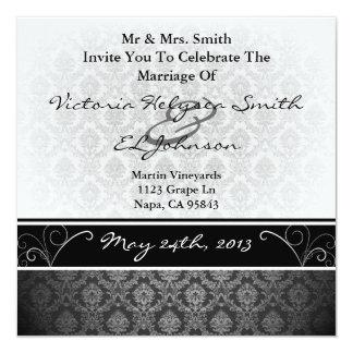 白黒ダマスク織の結婚式の招待 13.3 スクエアインビテーションカード
