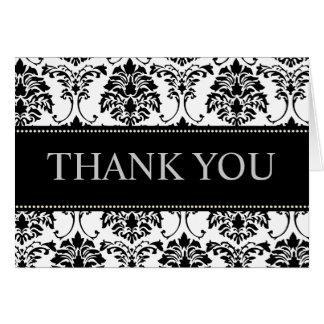 白黒ダマスク織はメッセージカード感謝していしています カード