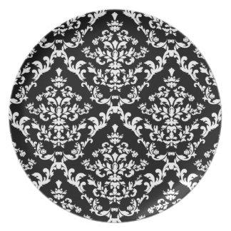 白黒ダマスク織パターン 皿