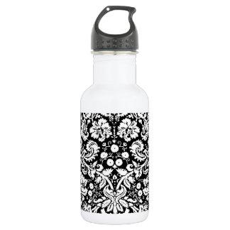 白黒ダマスク織パターン ウォーターボトル