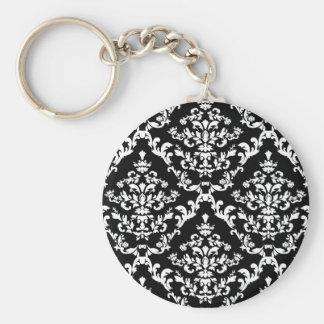 白黒ダマスク織パターン キーホルダー
