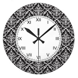 白黒ダマスク織パターン ラージ壁時計