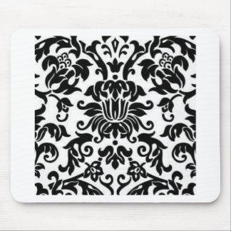 白黒ダマスク織 マウスパッド