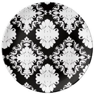 白黒ダマスク織 磁器プレート