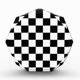 白黒チェス盤パターン 表彰盾