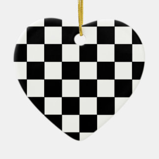 白黒チェッカーボードのレトロのヒップスター セラミックオーナメント