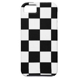 白黒チェッカーボードのレトロのヒップスター iPhone SE/5/5s ケース