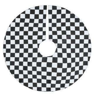 白黒チェッカーボードの背景 ブラッシュドポリエステルツリースカート