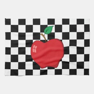 白黒チェッカーボードの赤いApple キッチンタオル
