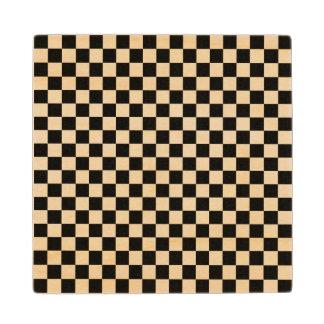 白黒チェッカーボード ウッドコースター