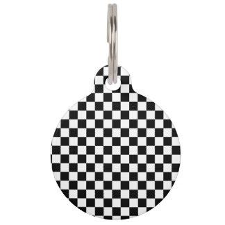 白黒チェッカーボード ペット ネームタグ