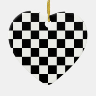 白黒チェッカー板 セラミックオーナメント