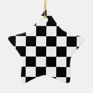 白黒チェッカー セラミックオーナメント