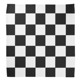 白黒チェック模様のチェッカーボードパターン ハンカチ