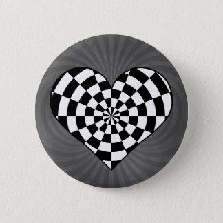 白黒チェック模様のハート 5.7CM 丸型バッジ